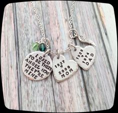 Remembrance Gift Necklace, I used to be their angel now they're mine, Memorial Jewelry, Loss of Parents, loss of grandparents