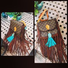 Fringe Louis Vuitton Authentic Louis Vuitton additionally handcrafted with leather fringe and Turquoise pieces Louis Vuitton Bags Shoulder Bags