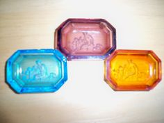 Czech intaglio salt dip in turquoise, amethyst and amber glass.