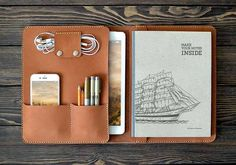 The Handmade iPad Pro Leather Case Holds Your 9.7″ iPad Pro, Notebook, iPhone, Earbuds and More