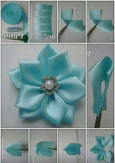 how to do silk ribbon embroidery Diy Ribbon Flowers, Making Fabric Flowers, Cloth Flowers, Fabric Roses, Fabric Ribbon, Ribbon Crafts, Flower Crafts, Lace Flowers, Ribbon Embroidery Tutorial
