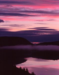 Pink and Purple Sunrise at Lake of the Clouds, Porcupine Mountains State Park, Upper Michigan