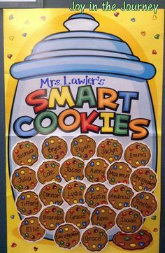 A welcome classroom door that celebrates it's smart cookies