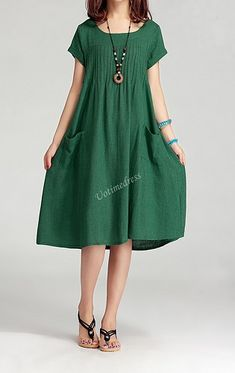 Grass Green Women Cotton Linen Long Dress Casual Skirt 2015 Sundress