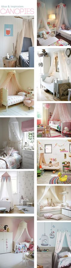 Top left: canopy attached to driftwood Baby Bedroom, Girls Bedroom, Bedroom Decor, Bedroom Ideas, Little Girl Rooms, Room Themes, Kid Spaces, Kid Beds, New Room