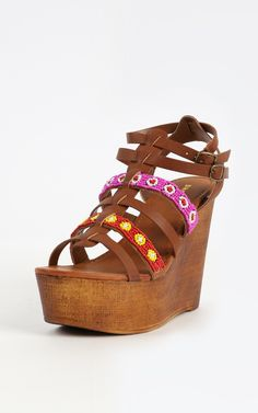 Strappy beaded wedges, so fun!  Love this boho look.| MakeMeChic.com