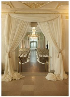 Backup location for ceremony indoors? Frame the entrance to your wedding ceremony or party with yards of beautifully draped fabric Wedding Events, Our Wedding, Dream Wedding, Wedding Church, Trendy Wedding, Wedding Reception, Wedding Gold, Wedding Music, Decor Wedding