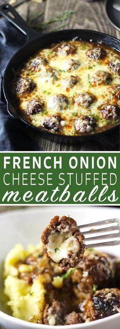One skillet French Onion Cheese Stuffed Meatballs are the perfect alternative to soup! Meatballs stuffed with Swiss cheese and smothered in perfectly caramelized onion and red wine gravy. Meatball Recipes, Beef Recipes, Cooking Recipes, Meatball Dish, Onion Recipes, Yummy Recipes, Soup Recipes, Red Wine Gravy, Cheese Stuffed Meatballs