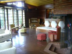 Hanna House, AKA 'Honeycomb House'. Frank Lloyd Wright. 1937. Stanford, California. Usonian