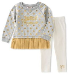 Juicy Couture Size 3T 2-Piece Long Sleeve  Juicy  Gold Dot Tutu Top and Legging Set