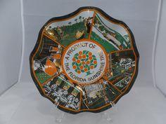Vintage Smoked Glass Dish - Mid Century, Great Graphics, Mod Retro, Mad Men, Houze Art, Florida Oranges, Sunshine State by Duckwells on Etsy