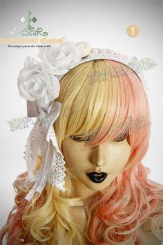 othic Elegant Lolita Pearl Side Rose Bow Hair Band