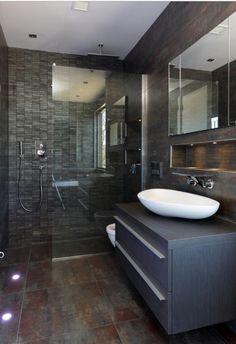 15 Exquisitely Captivating Gray And Brown Bathroom Ideas Bathroom Floor Tiles, Wood Bathroom, Bathroom Layout, Bathroom Ideas, Tile Layout, Bathroom Stuff, Industrial Bathroom, Brown Bathroom, Grey Bathrooms