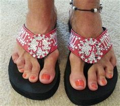 776626fc54da76 Order your Chiely Noel Roll Tide Bling Wedge Flip Flops today!  125  www.uniqueaccessoriesandmore.com. Stacey Reece · Unique Accessories And More