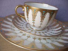 Antique 1940's Royal Chelsea gothic tea set gold by ShoponSherman, $139.00