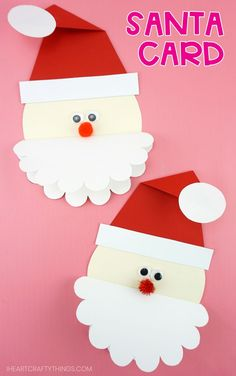 Grab our free template to make this cute Santa Card for family and friends. Kids will love making this simple and unique Christmas card idea. 3d Christmas Tree Card, Christmas Cards Handmade Kids, Diy Holiday Cards, Creative Christmas Trees, Christmas Crafts For Adults, Homemade Christmas Cards, Christmas Activities, Xmas Crafts, Kids Christmas