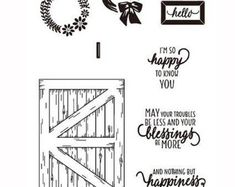 Barn Door Clear Rubber Stamp Set w/ hello, wreath, happiness, blessings, frame, picture #papercrafts #papercrafting #cardmaking #scrapbooking #scrapbook #scrap #papercraft #paperart #crafts, #papercrafts, # crafting, #DIY, #decor #stamps, #dewanddaisies, #rubber stamps, #scrapbooking, #cardmaking #paperartist #crafting #craft #crafty #rubberstamp #artsandcrafts
