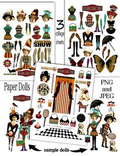 Paper Doll Fun Digital Collage Print Sheets no214 from cemerony etsy shop