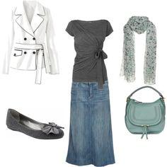 denim skirt outfit - Buscar con Google