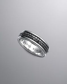 Black Diamond Band Ring, 6.5mm by David Yurman at Neiman Marcus.  Love this for a mans wedding band: