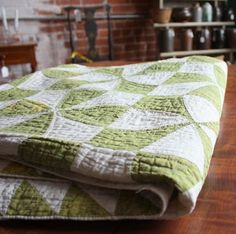 Diary of a Quilter - a quilt blog. an old green and white quilt she found antiquing - there are no other pictures of this but it's a nice version of a two color quilt anyway.
