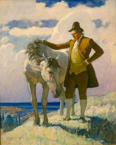 """N. C. Wyeth  (1882 - 1945) American artist and illustrator.  """"Sir Nat and the Horse"""" ~ N.C. (Newell Convers) Wyeth is the patriarch of three generations of Wyeth-Hurd artists and one of America's greatest illustrators. During his lifetime, Wyeth created over 3,000 paintings and illustrated 112 books."""