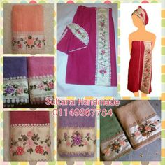 Collection of handmade embroidered towels and bath wraps Www.facebook.com/sultanahandmade