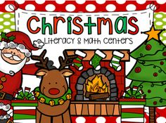 Christmas themed hands-on math and literacy centers for kindergarten.