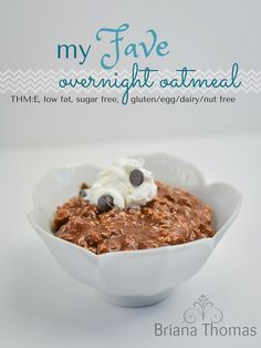 My Fave Overnight Oatmeal - it's healthy but tastes like chocolate pudding! THM:E, low fat, sugar free, gluten/egg/dairy/nut free