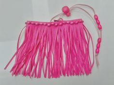 pink upper arm bracelet with fringes, armlet with wood beads from SpectralStories