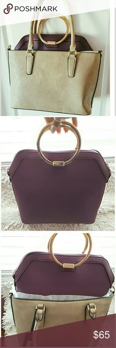 """🌟New Arrival 🌟 Dasein 2 in 1 Beautiful high quality faux leather Stone and purple colored  bag. Top zipper closure and side snap fastener, adjustable and remove able shoulder strap, gold-toned hardware on inside satchel. Leather handle on outer tote. Inside zipped compartment. Satchel has 3 inside compartments, 2 open, 1 zipped.  APPROX. 15.5"""" WIDTH, 12"""" HIGH AND 6.5 INCHES DEEP, HANDLE DROP LENGTH 6 INCHES. SHOULDER STRAP LENGTH END 2 END 48 INCHES. Dasein Bags"""