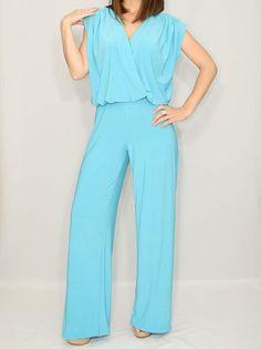 6682c9653792 Jumpsuit women 70s jumpsuit Wrap top Bohemian clothing Handmade Wide leg  pants Casual dress Party dress