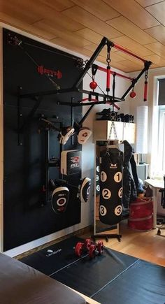 """A Home gym is the best way to save money. Take a look at the top home gym ide. - Home Gym Inspiration - Home Gym Garage, Diy Home Gym, Gym Room At Home, Basement Gym, Crossfit Garage Gym, Basement Steps, Attic Renovation, Attic Remodel, Dream Gym"
