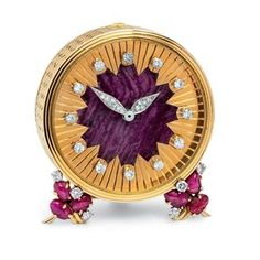Asprey gold, diamond and ruby travel clock