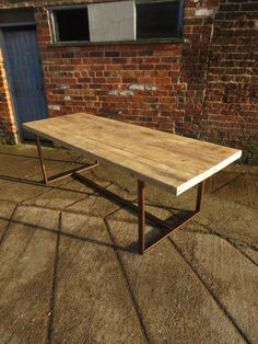 Reclaimed Industrial Chic 8-10 Seater Solid Wood and Copper Metal Frame Dining Table.Bar  Cafe Restaurant Furniture Steel Made to Measure