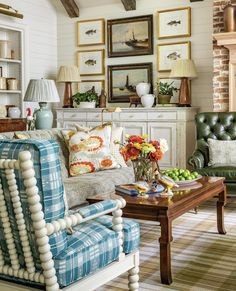 Is there a way to bridge the gap between my husband wanting masculine, rustic decor with lots of wood and my love of blue & white with creamy white molding? Home And Living, Decor, Home, Interior, Cabin Decor, Rustic Decor, Colourful Living Room, Rustic Room, Classic Home Decor