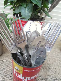 I look for SILVER PLATED spoons, forks, and butter knives (regular knives are too hard), sterling is too expensive, and stainless steel is too hard and new looking.  Most all flatware is marked on the back.