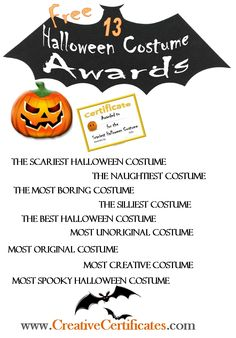 13 free printable Halloween Award Certificates to give out at Halloween Costume parties or to friends on Halloween. Halloween Costume Awards, Spooky Halloween Costumes, Halloween Yard Decorations, Halloween Carnival, Halloween Birthday, Holidays Halloween, Halloween Kids, Halloween Parties, Halloween 2019