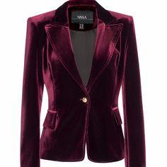 Browse Elegant Velvet Jacket Burgundy and more from Nissa at Wolf & Badger - the leading destination for independent designer fashion, jewellery and homewares. Velvet Blazer, Velvet Jacket, Purple Jacket, Jackets For Women, Clothes For Women, Purple Fashion, Piece Of Clothing, Sweater Jacket, Chic Outfits