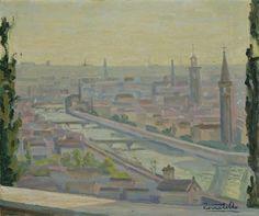 Alessandro Zenatello (1891-1977) - Ponti a Verona - 1976, olio s/ cartone.... : punto di riferimento dell'arte veronese del 900 :..
