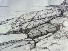 Fine Art Pen and Ink Drawing on Handmade Paper, Nearing the Edge by papermaker on Etsy Creative Landscape, Landscape Sketch, Landscape Drawings, Ink Pen Drawings, Realistic Drawings, Pencil Drawing Tutorials, Drawing Ideas, Drawing Art, Drawing Rocks