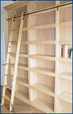 bookshelves with ladders - Google Search- Steve could build this....