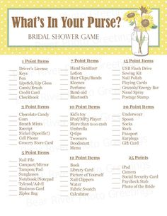 What's In Your Purse Bridal Shower Game - Sunflowers - Instant Download