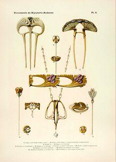 Documents de bijouterie et orfèvrerie modernes, par Paul Follot. Henri Laurens, Éditeur. 6, rue de Tournon, Paris.1900.
