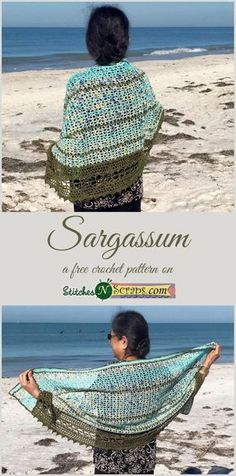 Free Pattern – Sargassum: Capture the feeling of delicate, lacy strands of seaweed, white sand beaches littered with shells, and the sparkle of sunshine on the clear, blue ocean. Sargassum is the name of a seaweed that washes ashore on the gulf beaches of Basic Crochet Stitches, Crochet Basics, Easy Crochet, Free Crochet, Knit Crochet, Crochet Hats, Freeform Crochet, Cross Stitches, Crochet Shawls And Wraps