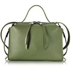 Jil Sander Bright Green Small Clover Leather Satchel Bag (1'650 CHF) ❤ liked on Polyvore featuring bags, handbags, genuine leather handbags, leather purses, leather cell phone purse, genuine leather purse and leather satchel handbags