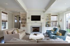 Turiya - contemporary - family room - denver - by Chalet Family Room Furniture, Furniture Layout, Furniture Arrangement, Den Furniture, White Furniture, Arrange Furniture, Furniture Websites, Steel Furniture, Family Rooms