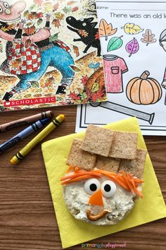 Literacy Snack Idea Fall Leaves- There was an old lady who swallowed some leaves - scarecrow snack
