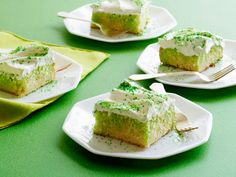 St. Patrick's Day Lime Poke Cake: This beloved dessert is made of not-too-sweet buttermilk cake and very lightly sweetened whipped cream. The cake tastes best just lightly chilled, so let it warm up a bit after removing it from the refrigerator.