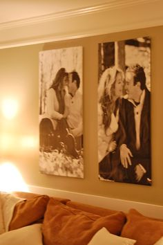 DIY Canvas Prints: HUGE Impact, low cost picture of each others parents with you and him in the middle